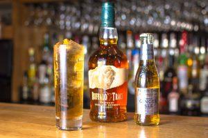 Buffalo Trace bourbon and smokey ginger ale